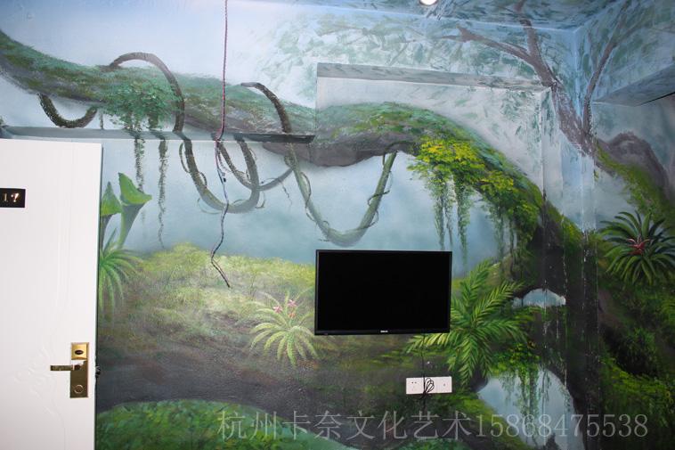 森林主题房-工装彩绘-【卡奈艺术】绍兴墙绘|嘉兴3d画